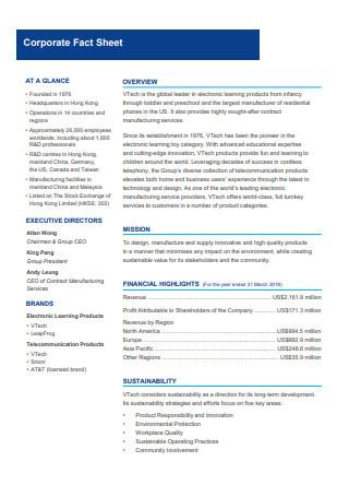 Formal Corporate Fact Sheet