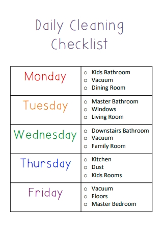 Formal Daily Cleaning Checklist