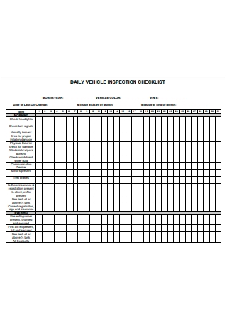 Formal Daily Vehicle Inspection Checklist