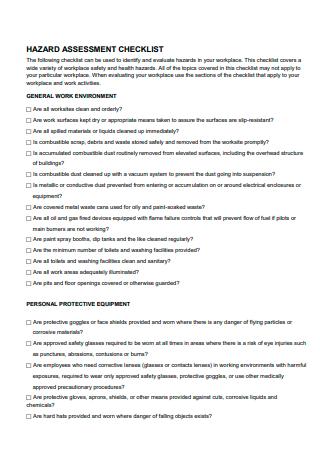 Formal Hazard Assessment Checklist