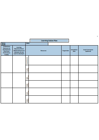 Formal Learning Action Plan