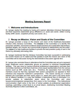 Formal Meeting Summary Report