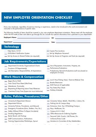 Formal New Employee Orientation Checklist