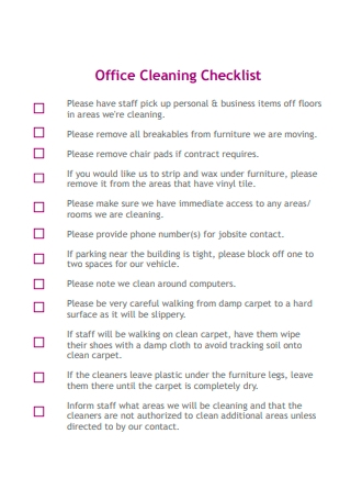 Formal Office Cleaning Checklist