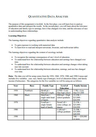Formal Quantitative Data Analysis