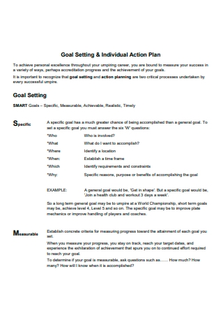 Goal Setting and Individual Action Plan