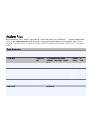 Goal Statement Action Plan