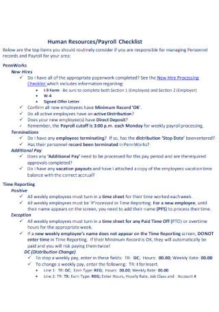 HR Payroll Checklist