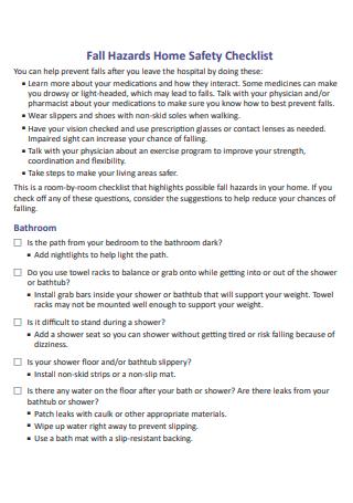 Hazards Home Safety Checklist