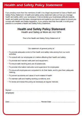 Health and Safety Policy Statement