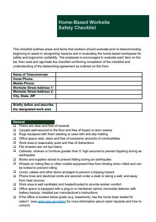 Home Based Worksite Safety Checklist