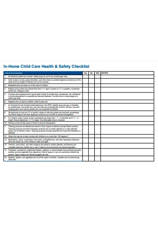 Home Child Care Health and Safety Checklist