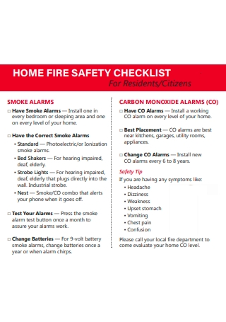 Home Fire Safety Checklist Template