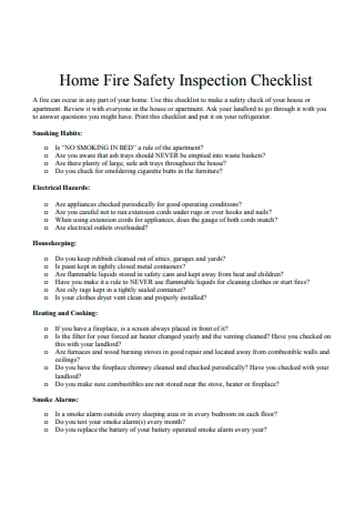 Home Fire Safety Inspection Checklist