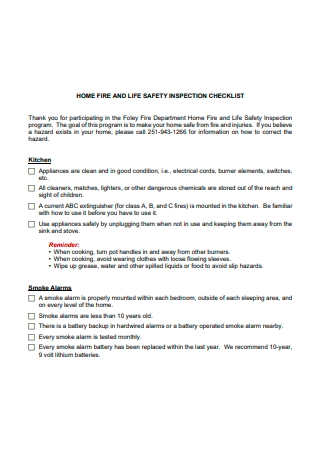 Home Fire and Life Safety Inspection Checklist