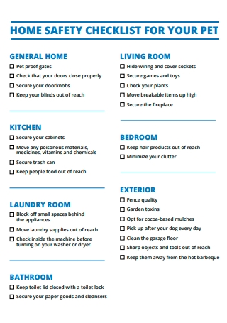 Home Safety Checklist For Pet