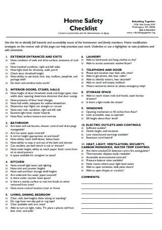 Home Safety Checklist in PDF