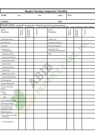 Hospice Nursing Competency Checklist