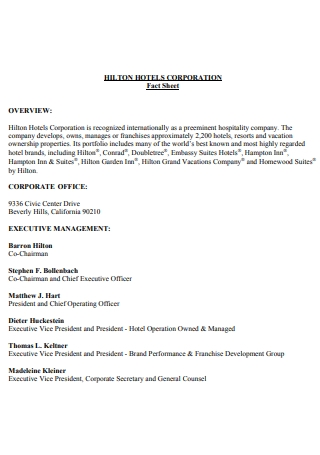 Hotel Corporation Fact Sheet