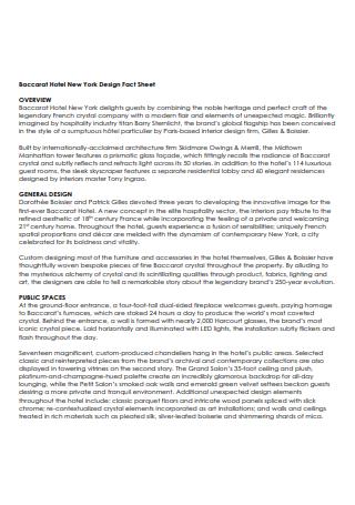 Hotel Design Fact Sheet