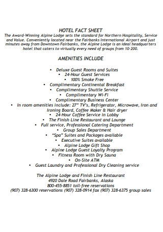 Hotel Fact Sheet Example