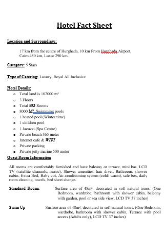 Hotel Fact Sheet in DOC