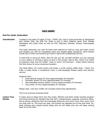 Hotel Fact Sheet in PDF