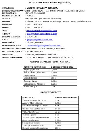 Hotel General Fact Sheet