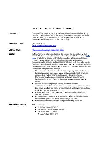 Hotel Palace Fact Sheet