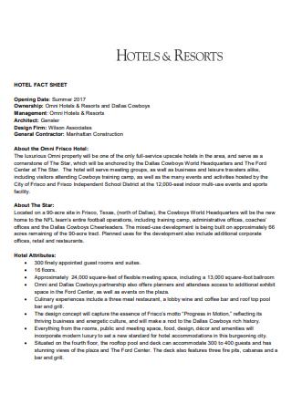 Hotel and Resort Fact Sheet