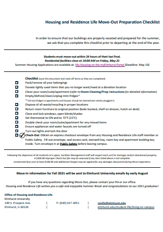 Housing and Residence Life Move Out Preparation Checklist