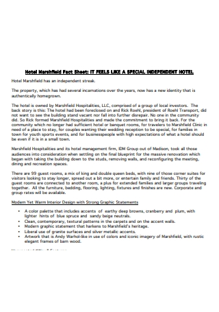 Independent Hotel Fact Sheet