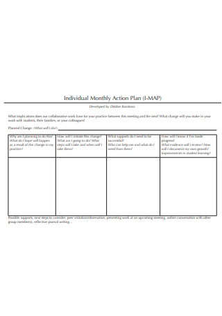 Individual Monthly Action Plan