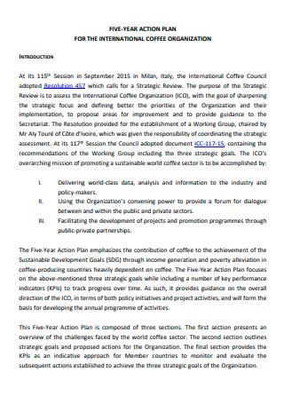 International Coffee Organization Five Year Action Plan