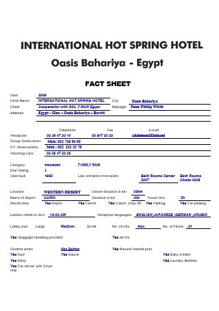 International Hotel Fact Sheet