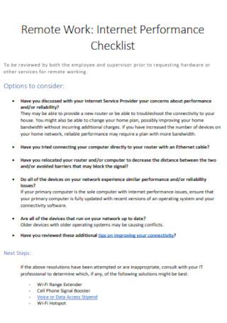 Internet Performance Checklist