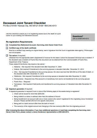 Joint Tenant Checklist