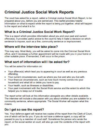 Justice Social Work Report
