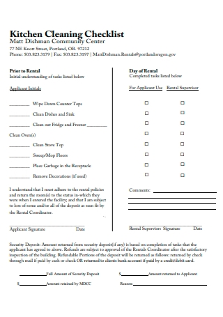 Kitchen Cleaning Checklist Example