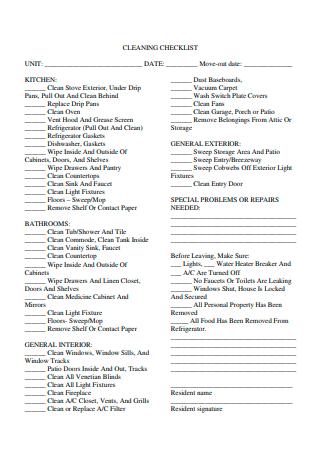 Kitchen Cleaning Checklist in PDF