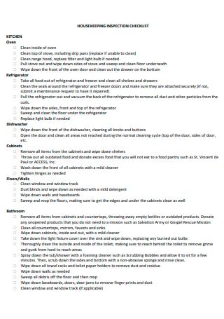 Kitchen Housekeeping Inspection Checklist