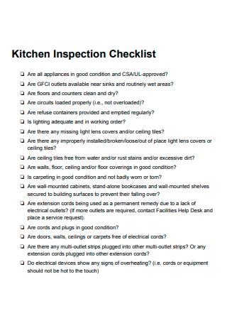 Kitchen Inspection Checklist in PDF