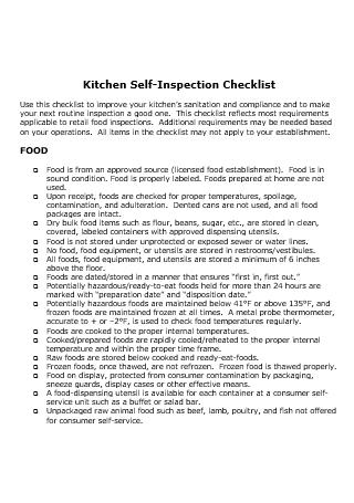 Kitchen Self Inspection Checklist