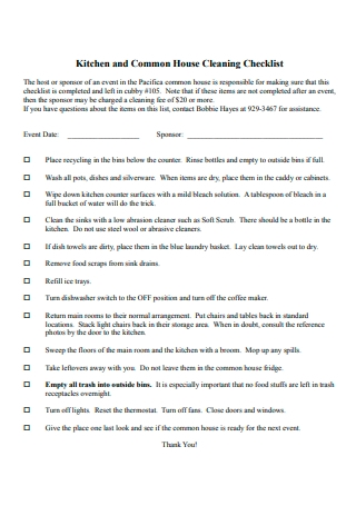 Kitchen and House Cleaning Checklist