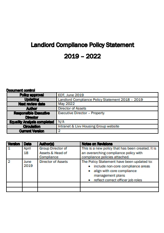 Landlord Compliance Policy Statement