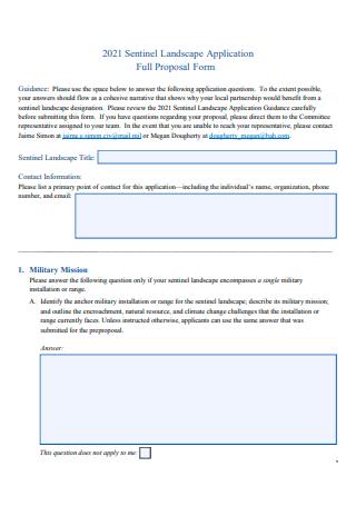Landscape Application Proposal Form