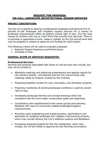Landscape Architectural Design Services Proposal
