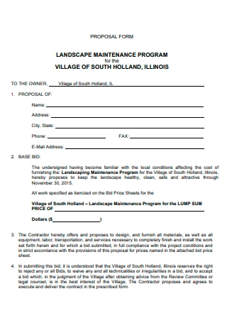 Landscape Maintenance Program Proposal Form