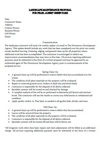 Landscape Maintenance Proposal