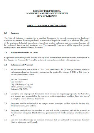 Landscape Maintenance Services Proposal